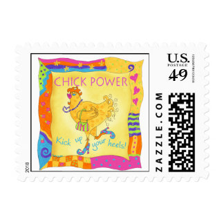 Kick Up Your Heels Chick Power Postage Stamp
