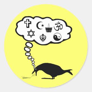 Kickass atheist classic round sticker