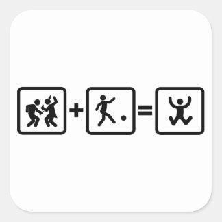 Kickball Calcomania Cuadradas Personalizadas