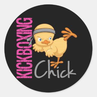 Kickboxing Chick Classic Round Sticker