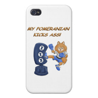 Kickboxing Pomeranian iPhone 4 Protectores