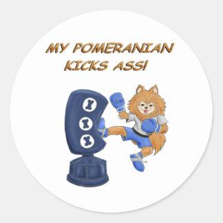 Kickboxing Pomeranian Round Sticker