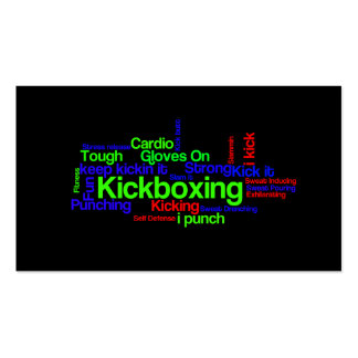 Kickboxing Word Cloud Bright on Black Business Card