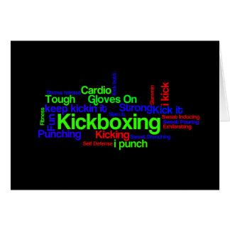 Kickboxing Word Cloud Bright on Black Card