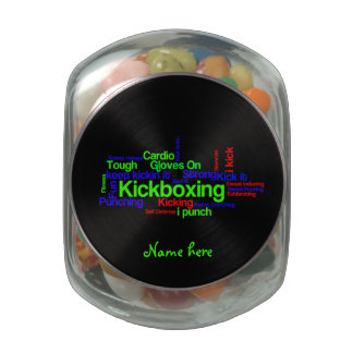 Kickboxing Word Cloud Bright on Black Glass Candy Jars