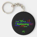 Kickboxing Word Cloud Bright on Black Keychain
