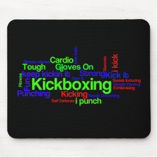 Kickboxing Word Cloud Bright on Black Mouse Pad