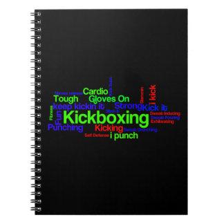 Kickboxing Word Cloud Bright on Black Notebook