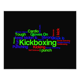 Kickboxing Word Cloud Bright on Black Photo Print