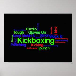 Kickboxing Word Cloud Bright on Black Poster