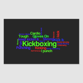 Kickboxing Word Cloud Bright on Black Rectangular Sticker