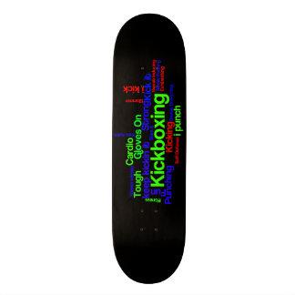 Kickboxing Word Cloud Bright on Black Skateboard Deck