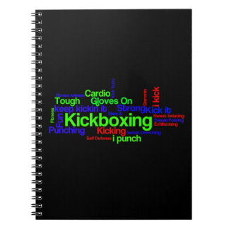 Kickboxing Word Cloud Bright on Black Spiral Note Book