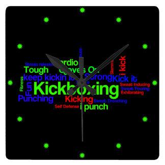 Kickboxing Word Cloud Bright on Black Square Wall Clock