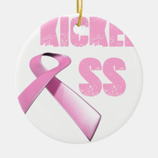 kicked Butt Breast Cancer Survivor Double-Sided Ceramic Round Christmas Ornament