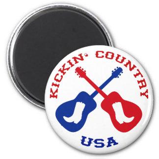 Kickin' Country USA 2 Inch Round Magnet