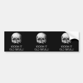 Kickin it Old Skull 3 in 1 Bumper Sticker