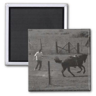 Kickin Up Dirt by Leslie Peppers Fridge Magnet