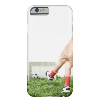 Kicking a soccer ball with finger imitating barely there iPhone 6 case