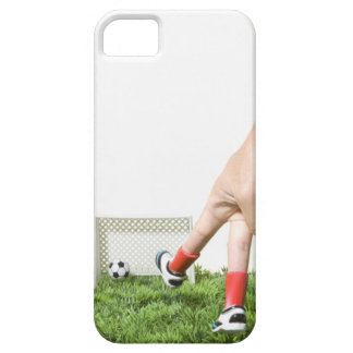 Kicking a soccer ball with finger imitating iPhone 5 case