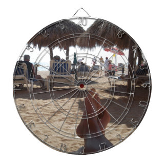 Kicking at the beach dartboard
