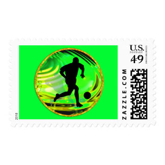 Kicking Balls in Green and Gold Stamp