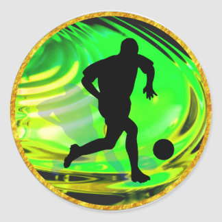 Kicking Balls in Green and Gold Classic Round Sticker
