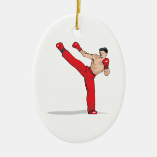 kicking kickboxer kickboxing graphic Double-Sided oval ceramic christmas ornament
