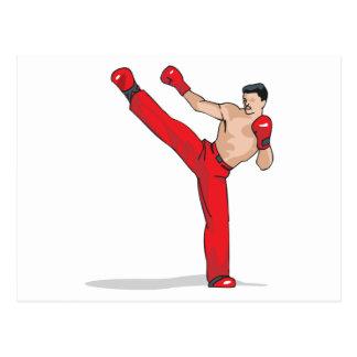 kicking kickboxer kickboxing graphic postcard