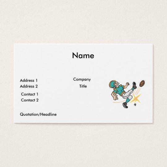 kicking off football player business card