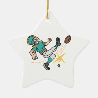 kicking off football player ceramic ornament