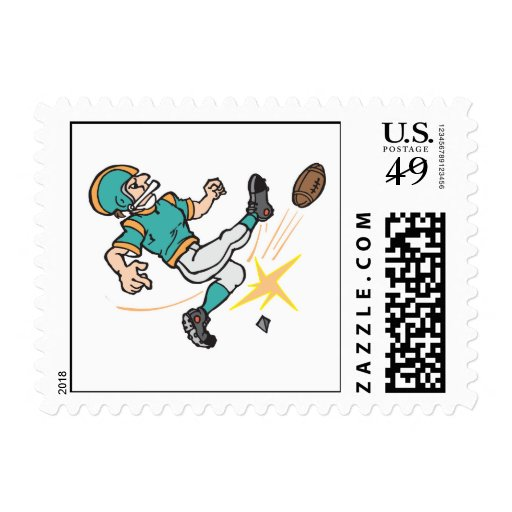kicking off football player postage stamps