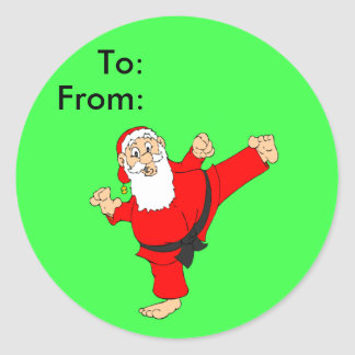 Kicking Santa Martial Arts Christmas Gift Tags Classic Round Sticker