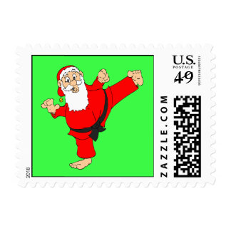 Kicking Santa Martial Arts Christmas Stamps