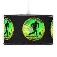Kicking  Soccer Balls Green & Gold Pendant Lamp