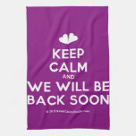 [Two hearts] keep calm and we will be back soon  Kicthen Towels