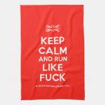 [UK Flag] keep calm and run like fuck  Kicthen Towels
