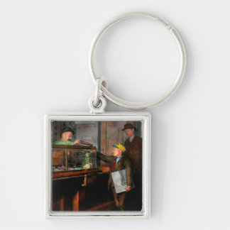 Kid - A visit to the candy store 1910 Silver-Colored Square Keychain