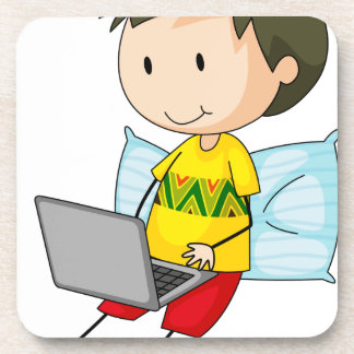 Kid and computer drink coasters