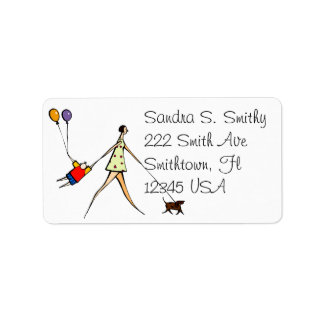Kid and dog in tow  Address Label