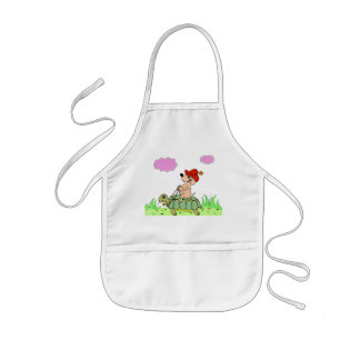 """kid apron """"funny tortle and dog"""" cartoon"""