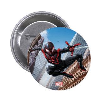 Kid Arachnid Web Slinging Through City Pinback Button
