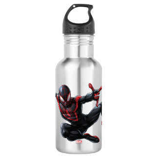 Kid Arachnid Web Slinging Through City Stainless Steel Water Bottle