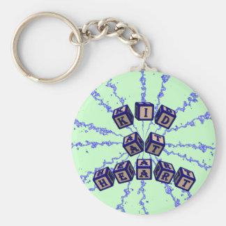Kid at Heart toy blocks in blue Basic Round Button Keychain