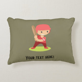 Kid baseball playerl accent pillow