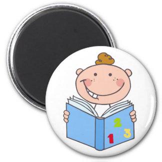 Kid Boy Reading A Book Refrigerator Magnet