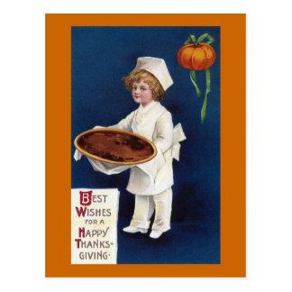 Kid Chef with Pumpkin Pie Vintage Thanksgiving Postcard