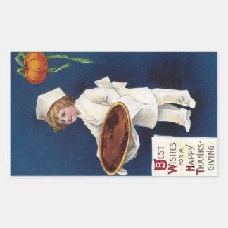 Kid Chef with Pumpkin Pie Vintage Thanksgiving Rectangle Sticker