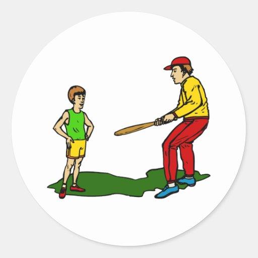 kid & coach round sticker