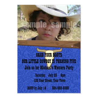 Kid Cowboy Birthday Party Personalized Announcement